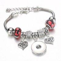 Heart Charm Button Button Beads Pulsera Langosta Hebilla Serpiente Cadena de Snake Bangles 6Color Pulsera con cuentas Fit 18mm Snap Mujeres DIY Joyería Accesorios