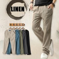 Summer thin men casual linen pants sweatpants straight trous...