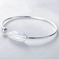 River Real S925 Sterling Silver Women Bangles Charm Feather ...