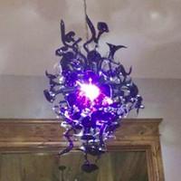 Lampadri a punta color vintage stile viola in stile viola luci a led soffiate in vetro soffiato lampade a sospensione in cristallo