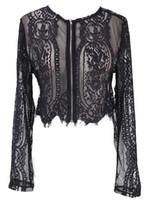 Yeni Bahar Yaz Siyah Dantel Bluz Kadınlar Hollow Out Gömlek Uzun Kollu Bluz Sexy Lady OL Ofis Lady Clothings Tops