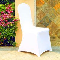 100pcs شعبية حفل الزفاف الرخيص الكرسي يغطي كرسي الحزب المطاطي الأبيض غطاء مأدبة قماش العشاء الجديد