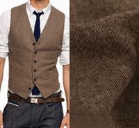 Pas cher Tweed Groom Gilets En Laine De Cheveux Style Britannique Custom Made Me Groom Gilet Slim Fit Mens Costume Gilet Groomsman De Mariage Gilet