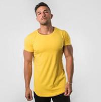 2019 novo design amarelo pure color gyms apertado algodão t-shirt dos homens de fitness t-shirt homme gyms t camisa dos homens de fitness crossfit verão tees topos