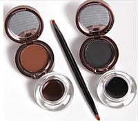 Müzik Çiçek Markası 2 In 1 Jel Eyeliner Kaş Pudra Makyaj Seti Su Geçirmez Siyah + Kahverengi Uzun aşınma 24 saat Doğal Kozmetik 2 adet = 1 takım.