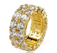 Hip Hop Glacé Micro Ring Pave CZ Pierre Tennis Bague Hommes Femmes Charme Luxe Bijoux en cristal Zircon Diamant Or Argent plaqué mariage