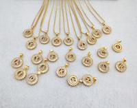 Altın Renk Yuvarlak Mikro Açacağı Kristal Kübik Zirkonya 26 Mektup Kolye Charms Kolye Takı Yapımı Kadın NK348