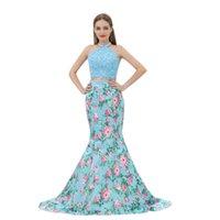 2019 flor impresa Dos piezas Sirena Vestidos de fiesta de piso de longitud Formal Partido Vestido Top de encaje Falda de flores impresas B010