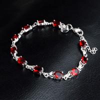 Pulseras de diamantes de color rojo para muchachas de las mujeres 925 plata esterlina diseños de joyería de moda de la cadena Enlace de regalo con el corchete de la langosta 8 pulgadas