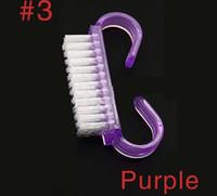 네일 새로운 미니 뜨거운 판매 핑크 블루 퍼플 손가락 네일 청소 도구 플라스틱 네일 아트 먼지 청소 브러쉬