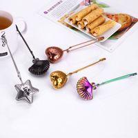 الفولاذ المقاوم للصدأ الشاي المساعد على التحلل المصافي التوابل ستار شل البيضاوي جولة شكل قلب تصفية لصنع الشاي وأدوات مطبخ كرات EEA902-2