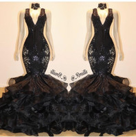 Preto Sereia Prom Dresses 2020 Sparkly Lace Sequins Ruffles Layered Skirt Sexy V-neck Trumpet vestidos de noite Vestidos de Festa