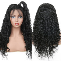 Water Wave Lace Front Human Hair Wigs For Women Black Bleach...