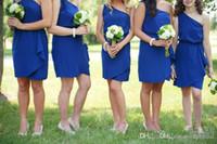 저렴 한 로얄 블루 짧은 신부 들러리 드레스 2017 새로운 하나 어깨 쉬폰 지퍼 간단한 신부 들러리 드레스 웨딩 드레스 사용자 정의 만든 플러스 크기