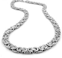 Collana in argento con collane in argento di alta qualità unisex maglia bizantina con catena in argento da donna in argento con collane di grosso spessore