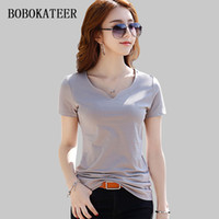 Bobokateer V- neck Tee Shirt Femme 2019 Short Sleeve Top Wome...