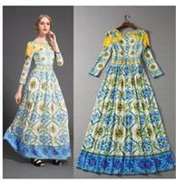 새로운 디자인 여성의 활주로 패션 O를 목 긴 소매 인쇄 꽃 높은 허리 맥시 긴 vestidos 플러스 크기 SMLXLXXL 드레스