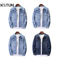 KSTUN Veste en jean Jeans Vestes Streetwear légers Blue Jackets Casual Coupe ample Outwear Coats surdimensionné Plus Size hommes Veste