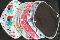 18*25cm 5Pcs Reusable Sanitary Pads Organic Bamboo Charcoal Inner Super Absorbent Menstrual Pad Cloth Sanitary Postpartum Sanitary Napkin