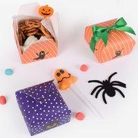 drôle mignon Halloween papier carré boîte pliante boîte-cadeau Halloween carré rayé bonbons biscuits biscuit boîte peut autocollants personnalisés
