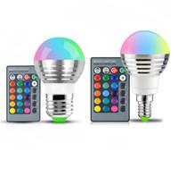 lâmpada 110V 220V 85-265V LED E27 E14 RGB 16 Lâmpada Luz Regulável Luz de Palco Cor Magic Night LED / 24key feriado Controle Remoto