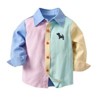 Cute Boys Gentleman Camicie Tees Candy Color Stripes Top Western Fashion Vintage Bambini Ragazzi Spring Autumn Blouse