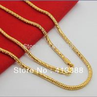 Toda la venta de Alta Calidad Nuevas Llegadas 2014 24 K Plateado Joyería de Serpiente de Lujo 3.5mm Ancho 70 cm Collar Largo Cadena de Oro Para Hombres NEC1527