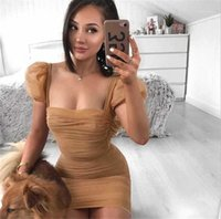Mesh Dress Sexy Coffee Color Square Neck Bodycon Dress Women Club Party Dresses Puff Sleeve Ruched