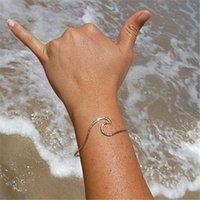 Браслет Ocean wave Волновой браслет Золотая или серебряная проволочная сетка Морская волна Island Surfer Jewelry Браслет для женщин Мужчины Пляж Boho