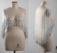 2020 Glitter Crystal Beads Wraps For Evening Prom Formal Dress Wedding Bolero Jackets For Special Occasion Shawl Dress