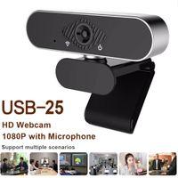 HH-USB25 2MP 웹캠 전체 HD 1080P 웹 카메라 라이브 방송 비디오 회의 웹캠을위한 내장형 마이크가있는 컴퓨터 카메라