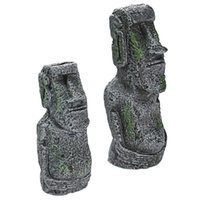 Reçine Yapay Akvaryum Paskalya Adası Heykeli Süsleme Sualtı Peyzaj Craft Süsler Fish Tank Dekorasyon Aksesuarları JK2002