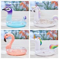 Paillettes Unicorn Galleggiante Adulto Flamingo Galleggiante Anello Nuoto Adulto Salvagente Unicorno Anello Galleggiante Paillettes Piscine Gioco All'aperto CCA11539 10 pz
