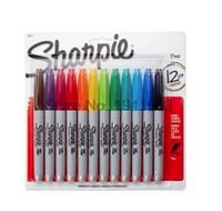 12pcs / Lot 12colors americano Sanford Sharpie permanente Marcadores Eco -Friendly pena de marcador Sharpie Fine Point marcador permanente Hot