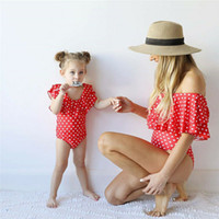 Summer Mother Daughter Women Girl Red One- Piece Swimsuit Off...