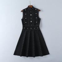 610 Pist Elbise Marka Aynı Stil Elbise Kolsuz Ekip Boyun Boncuk Kıst Bayan Giysileri Lüks Moda Elbise SH