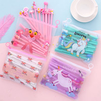 Großhandel 20 teile / satz Gelschreiber Erschwingliche Set Korea Kreative Cartoon Einhorn Transparent Bleistiftbeutel Neutral Stift Schreibwaren Drop Shipping
