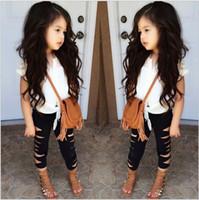 夏の女の子の服セット赤ちゃんの女の子のレースノースリーブTシャツトップ+細断レギンスパンツ2個セット子供衣装子供たちのスーツ