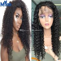 peluca del frente del cordón del pelo humano medio rizado remy indio al por mayor de 12-26in MikeHAIR / peruano profundo de la onda peluca llena del cordón del pelo brasileño para las mujeres negras