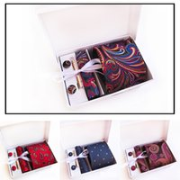 Mens Wide Formal Necktie Sets Cufflink Hanky Clips Custom Ch...