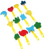 Pinturas para niños Cepillo de esponja Conjunto de 12 piezas Herramienta de pintura Mango amarillo Jardín de infantes Bricolaje Arte Graffiti Sonrisa Más color Ahorre esfuerzo 6pcC1