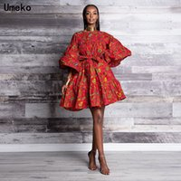 Parti Elbiseler Umeko Moda Kadınlar Yaz O-Boyun Kabile Ulus Stil Seksi Kabarcık Elbise Kelebek Kol Çiçek Baskı Afrika için
