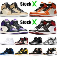 Beste Schuhe Stock Basketball Jumpman X Neu 1 1s Premium Fashion Marke Court Lila Schwarz Toe Top Trainer-Sport-Turnschuhe zerschmetterten 36-46