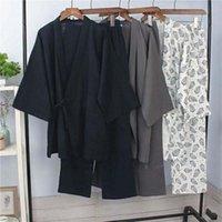 Algodão japonês Pijamas Fori Homens Kimono Haori Pijama camisola de verão Tops + calças roupa Set respirável Yukata Jinbei