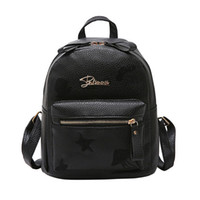 Leather girl double backpack shoulder bag simple fashion emb...