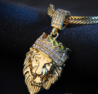 Hot! Hip Hop Lion Head Pendant Necklace With Chain 24K Gold ...