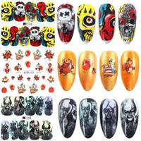12pcs/set Halloween Skull Bone Stickers For Nails Devil Zombie Ghost Sliders For Nails Transfer Foil Nail Art Tattoo Manicure