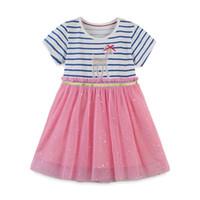 女の子漫画王女縞模様のドレス子供夏の綿の半袖ドットダイヤモンド輝くガーゼチュチュスカートTスカートワンピースドレスCZ229
