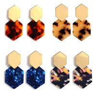 Pendientes de acrílico para mujer Pendientes geométricos para niñas Pendientes de círculo bohemio Moteado de resina Joyería de moda