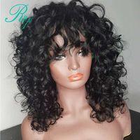 Кудрявый кудрявый боб парик фронта шнурка с челкой 150% плотность 13X4 синтетический парик фронта шнурка Боб предварительно Выщипанный короткий бразильский парик
